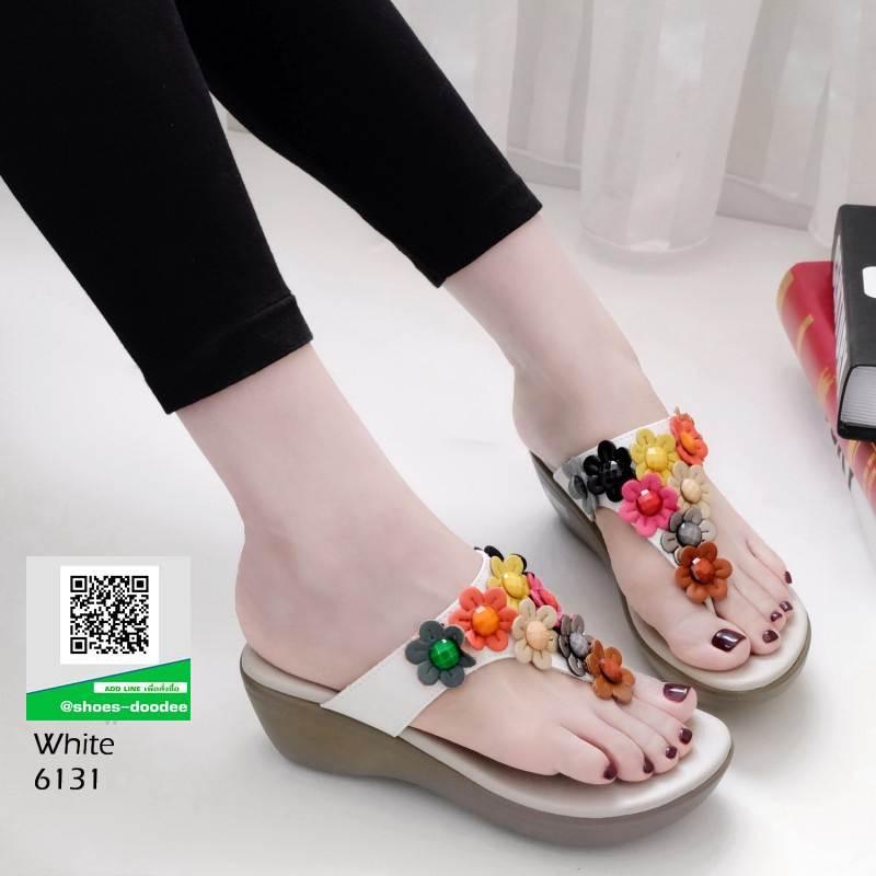 รองเท้าลำลอง แบบหูคีบหนังนิ่ม 6131-ขาว [สีขาว]