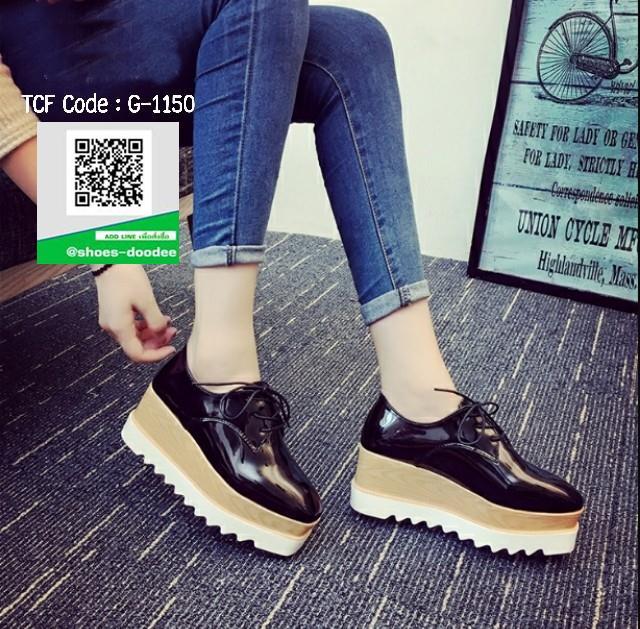 รองเท้าคัทชูเสริมส้นสีดำ ทรงมัฟฟิน ลายไม้ (สีดำ )
