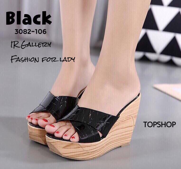 รองเท้าส้นเตารีดเปิดส้นสีดำ สายคาดไขว้ แบบสวม (สีดำ )