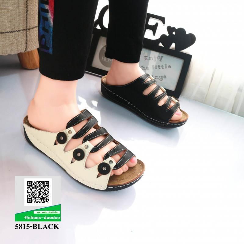 รองเท้าสไตล์เพือสุขภาพ คาดสีสลับ 5815-BLACK [สีดำ]
