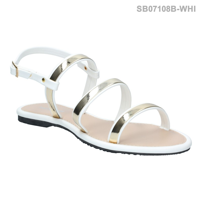 ลดล้างสต๊อก รองเท้าส้นแบน SB07108B-WHI [สีขาว]