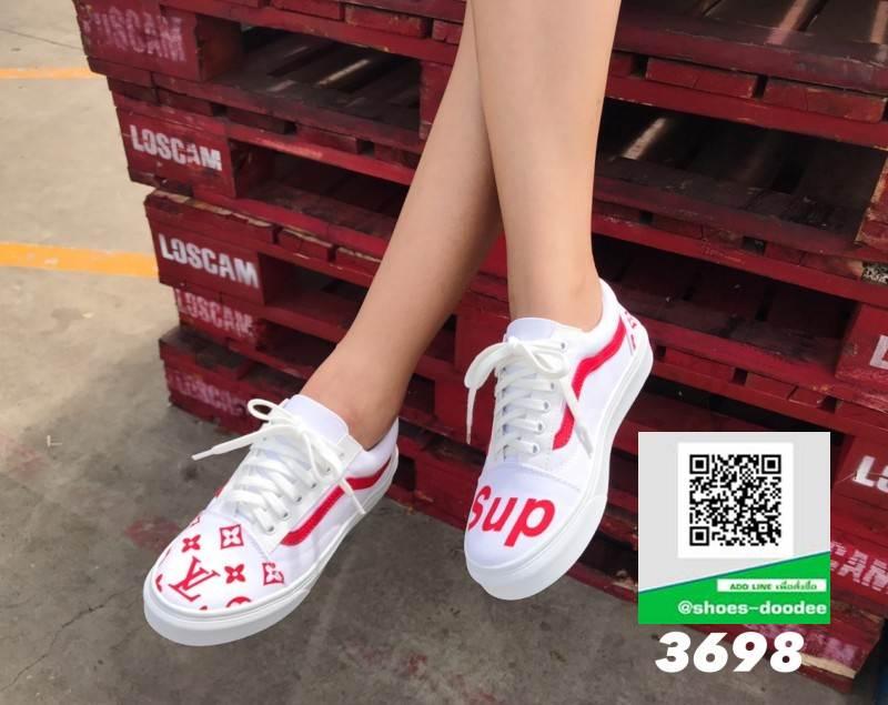 รองเท้าผ้าใบแฟชั่นสีขาว ผ้าแคนวาส ทรง VANS (สีขาว )