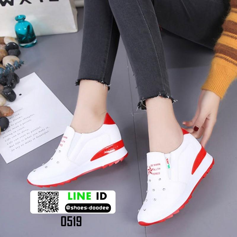 รองเท้าผ้าใบสไตล์เกาหลี แต่งครัสตัล 0519-RED [สีแดง]