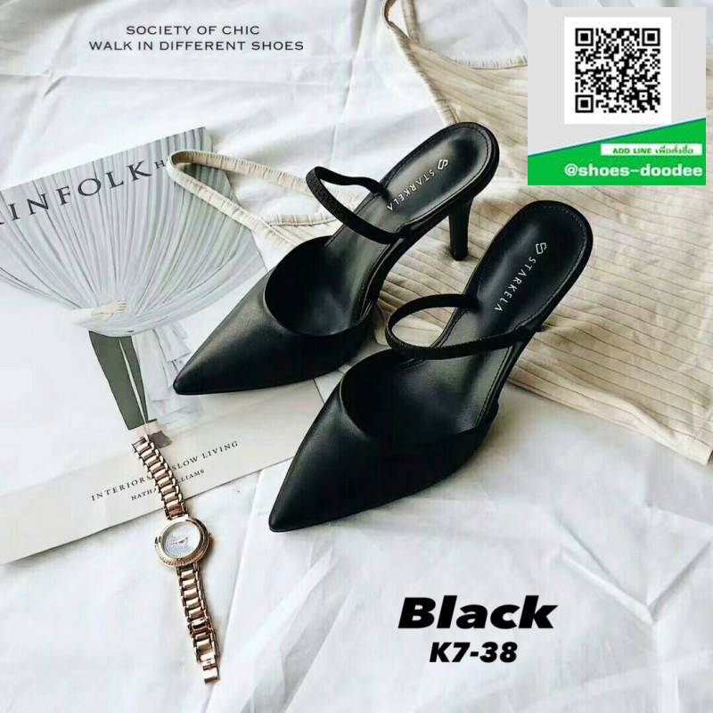 ส้นสูงเปิดส้น K7-38-BLK [สีดำ]