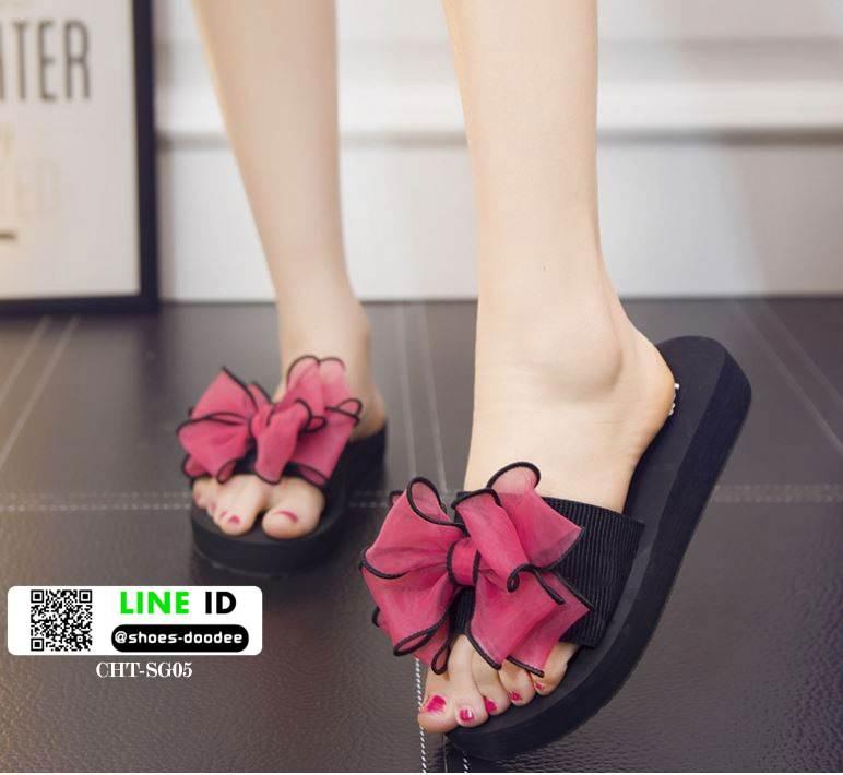 รองเท้าแตะส้นเตารีดประดับโบว์ CHT-SG05-DPNK [สีชมพูเข้ม]