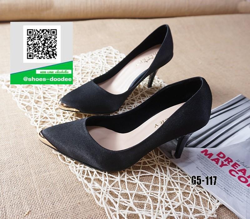 รองเท้าคัทชูส้นสูงสีดำ หัวแหลม ผ้าสักหราด (สีดำ )