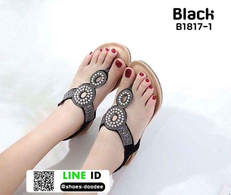 รองเท้าแตะรัดส้น สไตล์โบฮิเมียน B1817-1-BLK [สีดำ]