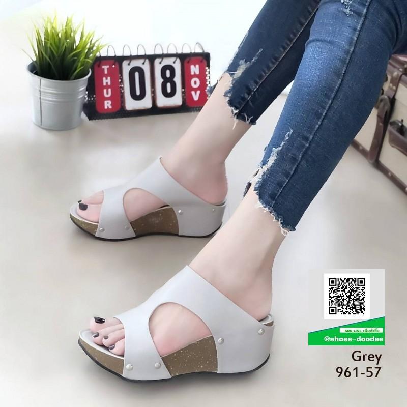 รองเท้าส้นเตารีด หนัง pu 961-57-เทา [สีเทา]