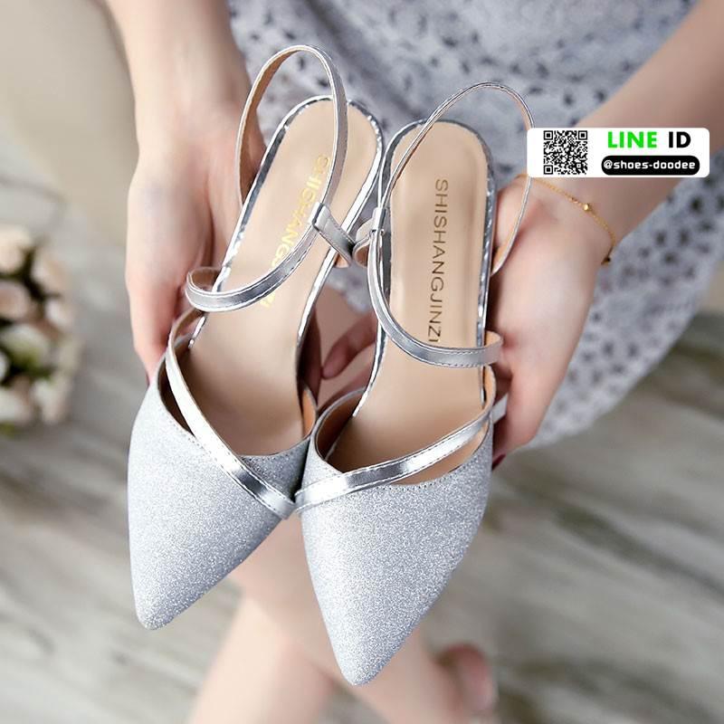 รองเท้าส้นสูงกากเพชรนำเข้า AMG-0003-SIL [สีเงิน]