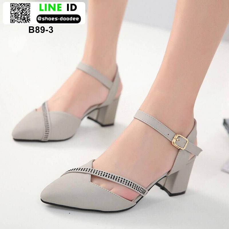รองเท้าคัทชู รัดส้น ส้นสูง B89-3-GRAY [สีเทา]
