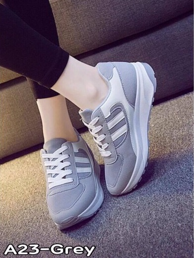 รองเท้าผ้าใบเสริมพื้น สายเชือก สวมใส่สบาย (สีเทา )
