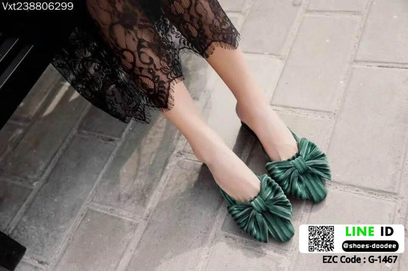 งานเกาหลี รองเท้าส้นสูงแบบสวม เปิดท้าย ด้านหน้าทรงวี G-1467-GRN [สีเขียว]