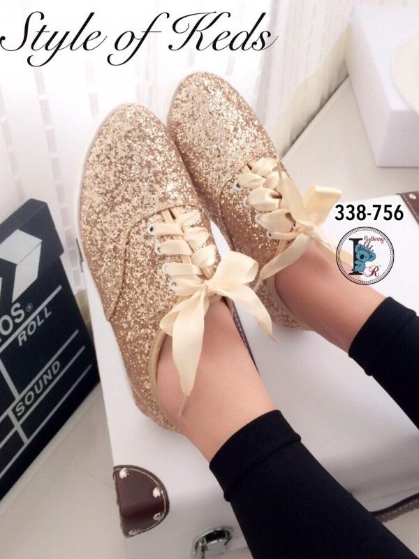 รองเท้าผ้าใบแฟชั่น Style Keds รุ่น Champion Glitter (สีทอง )