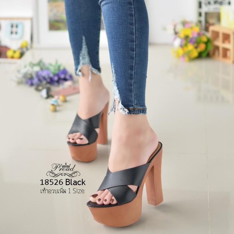 รองเท้าส้นสูงเปิดส้นสีดำ Muless Heels Shoes (สีดำ )