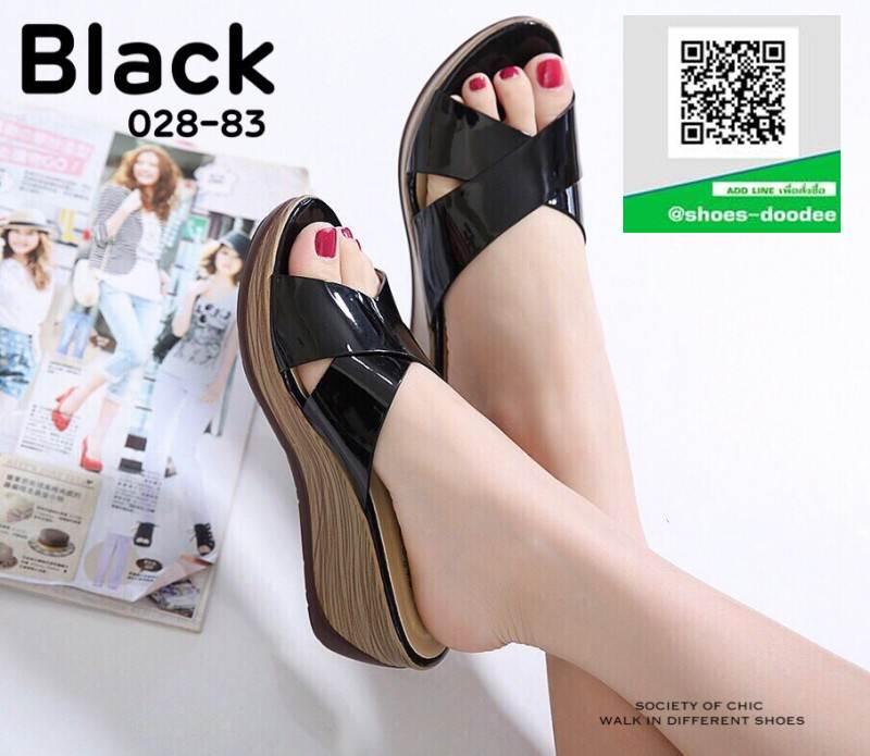 รองเท้าเตารีดหนังแก้ว 028-83-BLK [สีดำ]