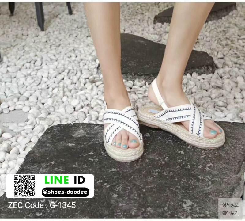 รองเท้าแตะงานเกาหลี งานดีมาก แตะปอ G-1345-WHI [สีขาว]