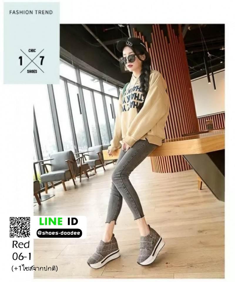 รองเท้าผ้าใบ ลายสก้อช แปะเมจิกปรับขนาดด้านข้าง 06-1-แดง [สีแดง]