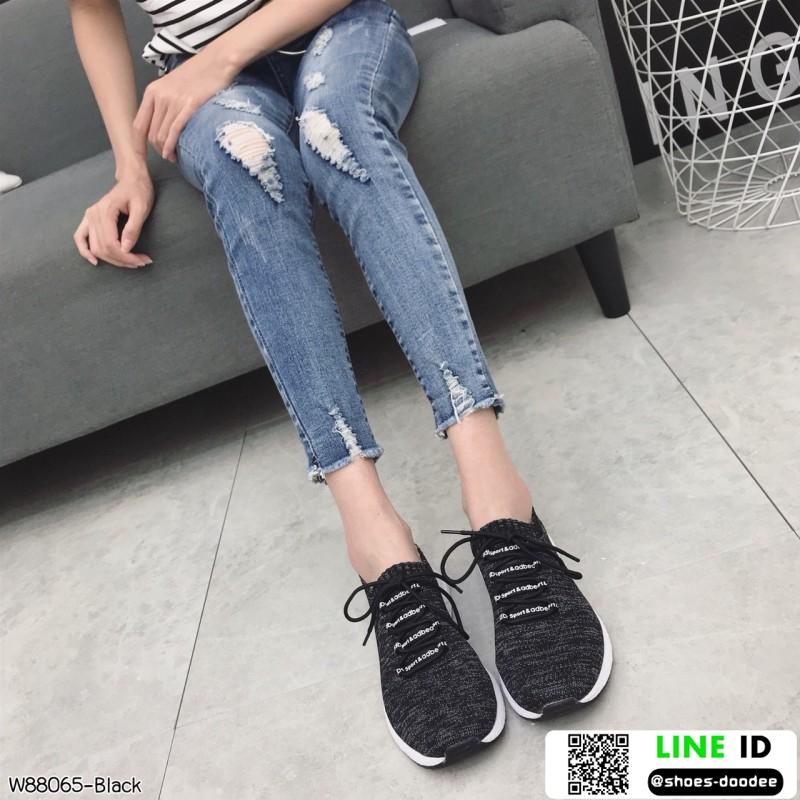 รองเท้าผ้าใบแฟชั่นงานผ้าจ้าา W88065-BLK [สีดำ]