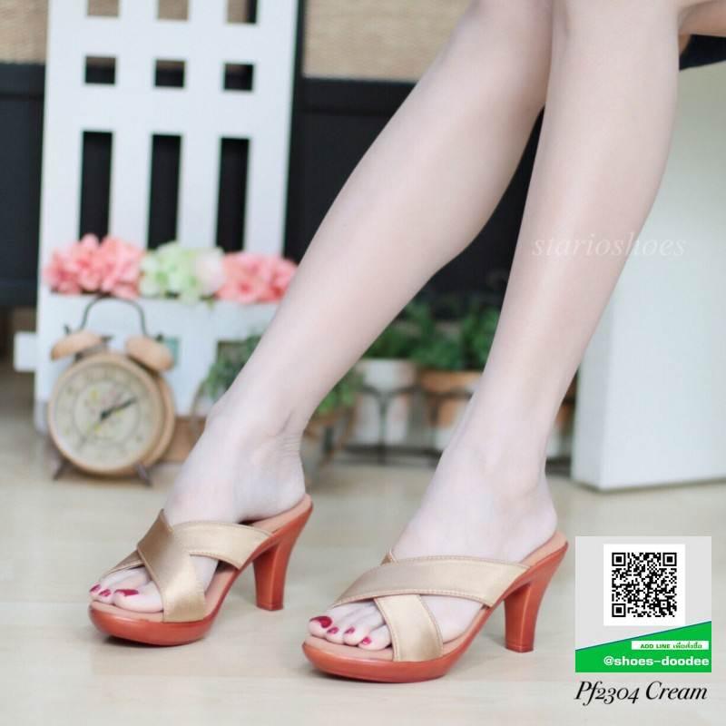 รองเท้าส้นสูงแบบสวม PF2304-CRE [สีครีม]