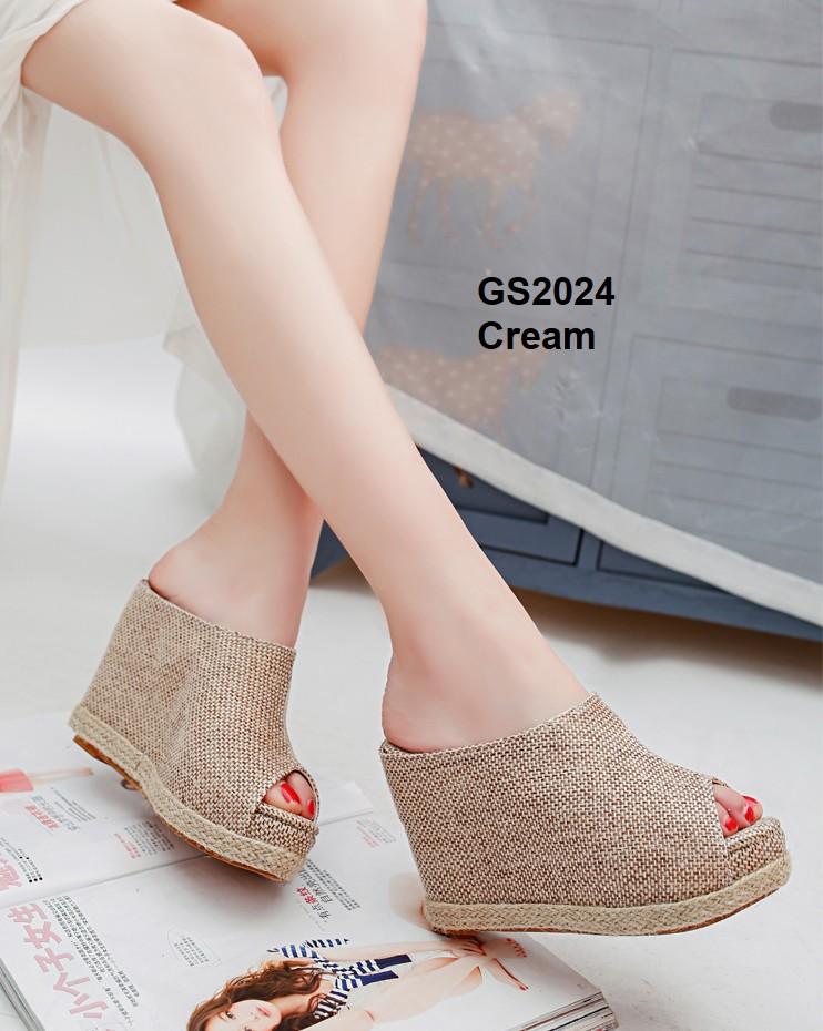 รองเท้าส้นเตารีดสีครีม แบบสวม สไตล์เกาหลี (สีครีม )