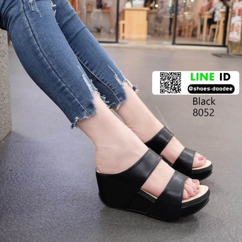 รองเท้าส้นเตารีดแบบสวม2ตอน 8052-ดำ [สีดำ]