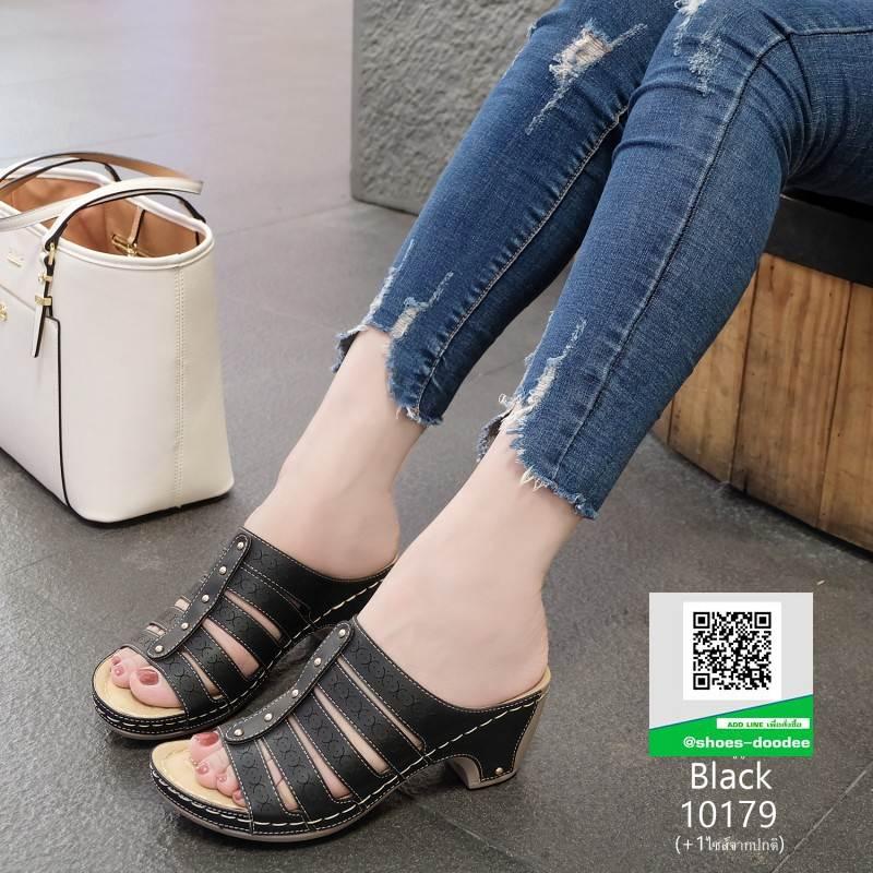 รองเท้าเพื่อสุขภาพส้นเตารีด หนังPU 10179-ดำ [สีดำ]