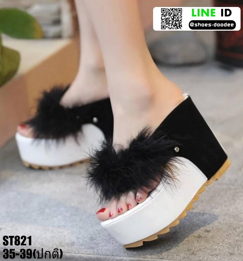 รองเท้าหูคีบส้นเตารีด ST821-BLK [สีดำ]