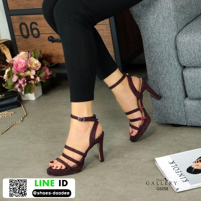 รองเท้าส้นสูงรัดข้อ วัสดุหนังกริตเตอร์ G5-258-RED [สีแดง]