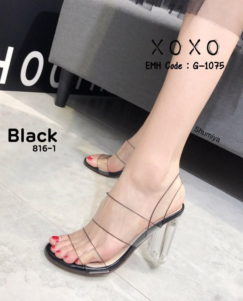 รองเท้าส้นสูงรัดส้นสีดำ พลาสติกในไม่บาดเท้า ส้นแก้ว (สีดำ )