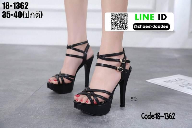 รองเท้าส้นสูงรัดข้อเปิดท้าย 18-1362-BLK [สีดำ]