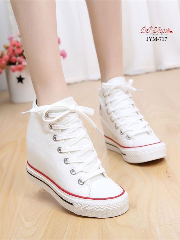 รองเท้าผ้าใบหุ้มข้อสีขาว สริมส้น ผ้าแคนวาส (สีขาว )