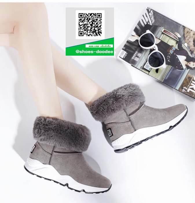 รองเท้าบูทเกาหลีสีเทา หนังวัวนิ่ม บุขน (สีเทา )