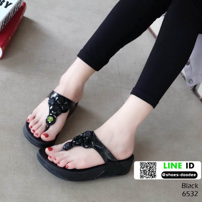 รองเท้าฟิทฟลอบ รองเท้าเพื่อสุขภาพแต่งด้วยคริสตัล 6532-ดำ [สีดำ]
