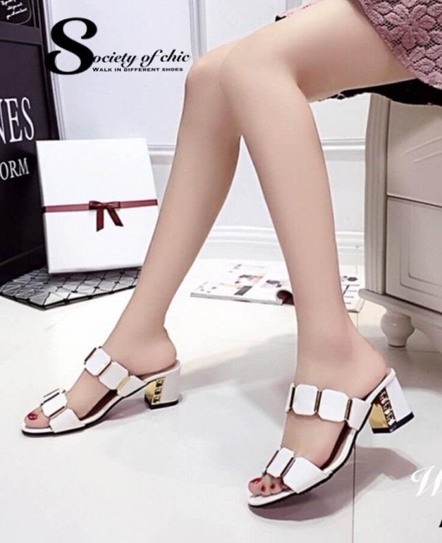 รองเท้าส้นตันสีขาว ทรงสวม maxi ส้นเหลี่ยม (สีขาว )