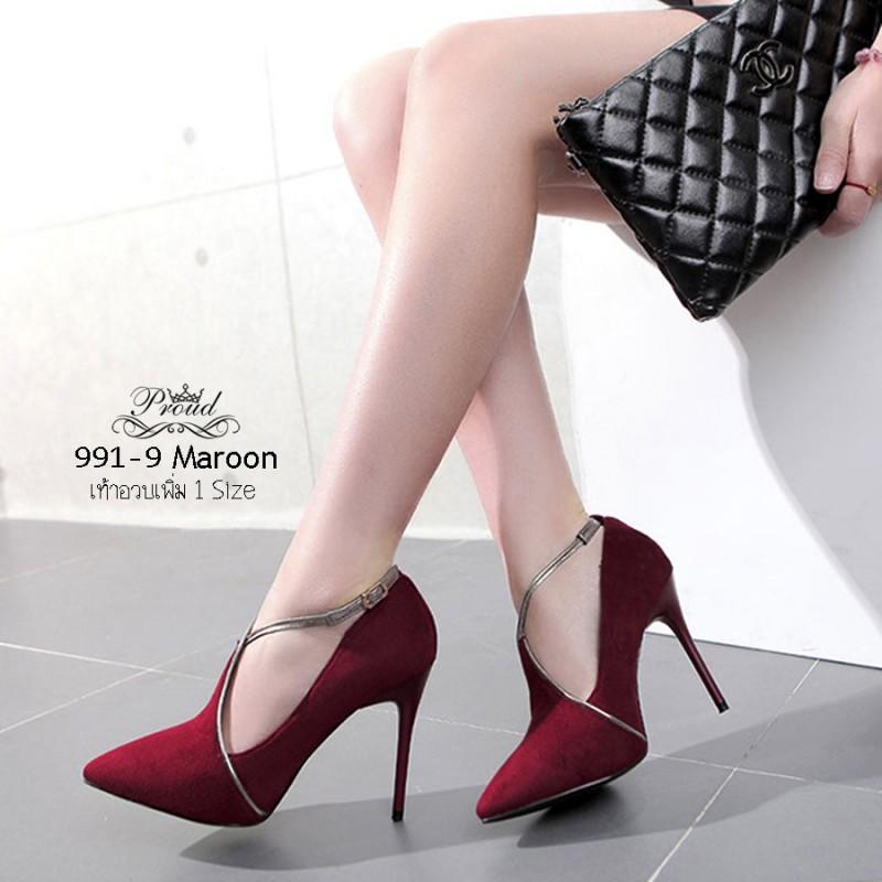 รองเท้าส้นเข็มรัดข้อสีเลือดหมู หุ้มส้น หัวแหลม สไตล์เกาหลี (สีเลือดหมู )