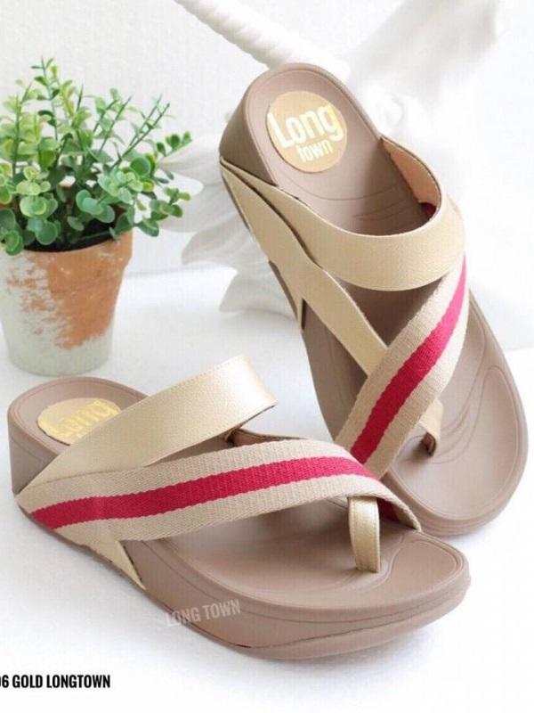 รองเท้าแตะเพื่อสุขภาพ สไตล์ลำลอง หูหนีบ เสริมพื้น (สีทอง )