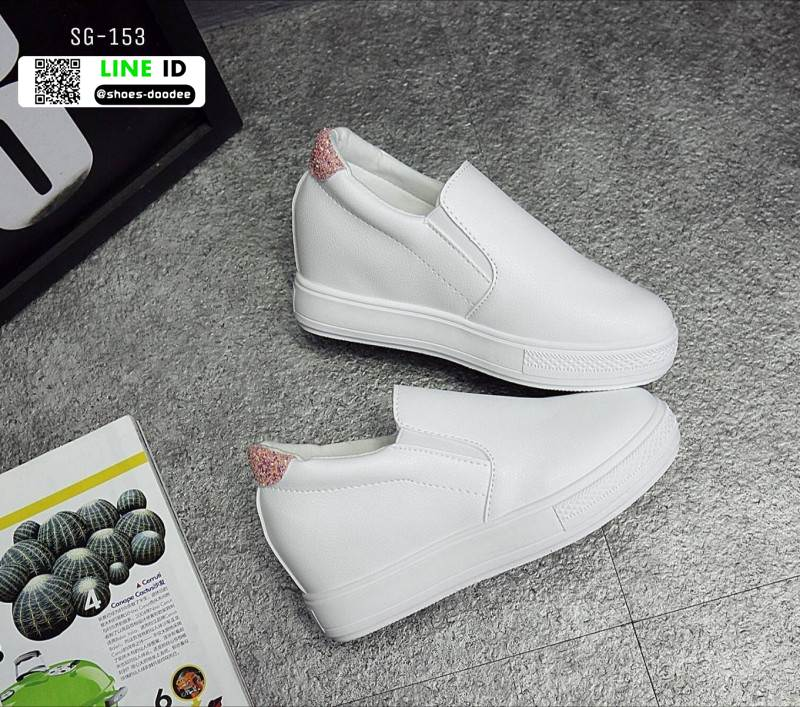 รองเท้าผ้าใบผู้หญิง สวมหนังนิ่ม SG-153 [สีขาว]