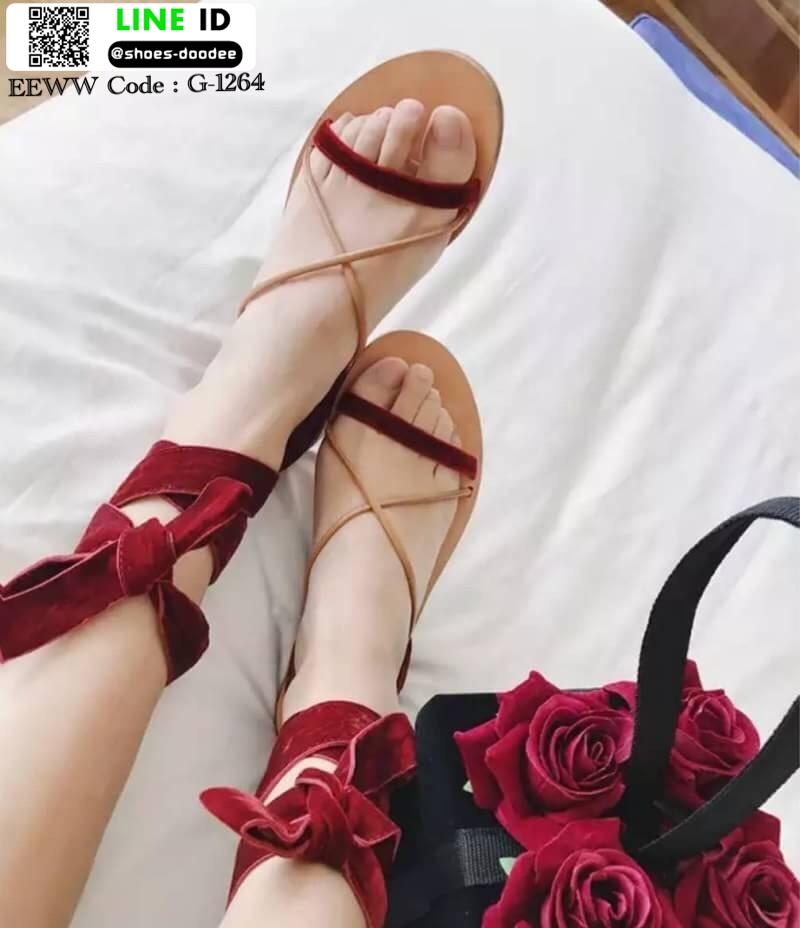 รองเท้าแตะสายคาดไขว้ หนังสักราจ G-1264-RED [สีแดง]