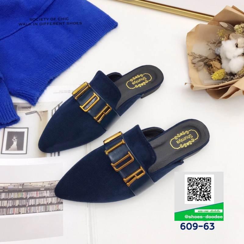 รองเท้าส้นแบน เปิดส้น Dior 609-63-BLU [สีน้ำเงิน]