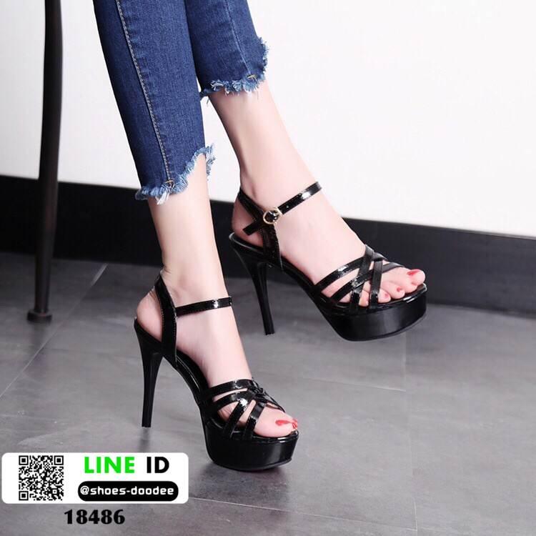 รองเท้าส้นเข็มรัดข้อ ส้นสูง6นิ้ว 18486-BLK [สีดำ]