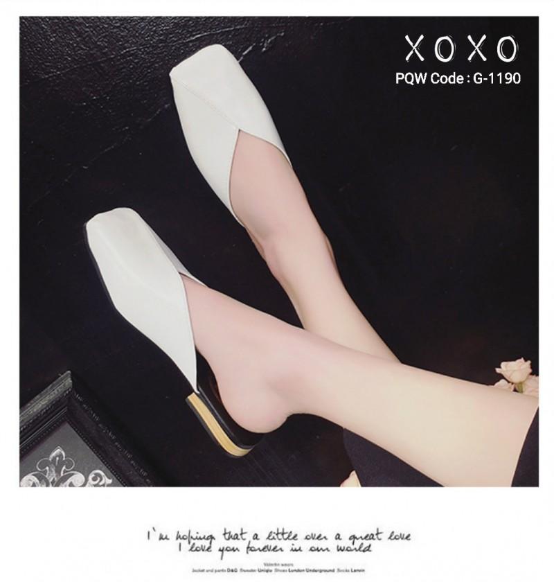 รองเท้าแตะแบบสวม หน้าตัด G-1190-WHI [สีขาว]