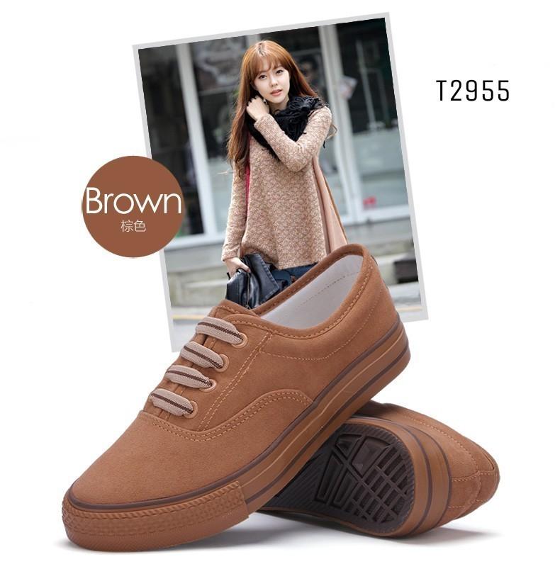 รองเท้าผ้าใบแฟชั่นสีน้ำตาล แบบเชือก แฟชั่นเกาหลี (สีน้ำตาล )