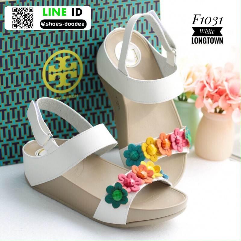 รองเท้าเพื่อสุขภาพ แบบรัดส้น แต่งดอกไม้ F1031-WHT [สีขาว]