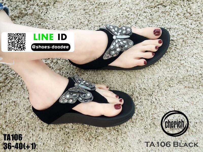 รองเท้าแตะรองเท้าสุขภาพแบบหูคีบ TA106-BLK [สีดำ]
