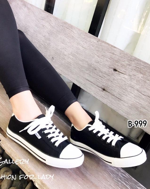 รองเท้าผ้าใบแฟชั่นสีดำ ผ้าแคนวาส รุ่นคลาสสิค (สีดำ )