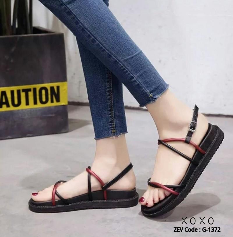 รองเท้าแตะสายไขว้ พื้นหนา 1372-RED [สีแดง]