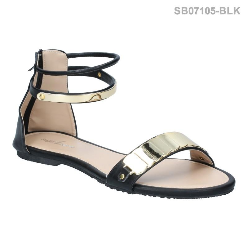 ลดล้างสต๊อก รองเท้าส้นแบน SB07105-BLK [สีดำ]