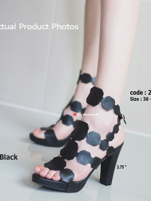 รองเท้าส้นสูงรัดส้น หนังตัดเก๋ สไตล์เกาหลี (สีดำ )