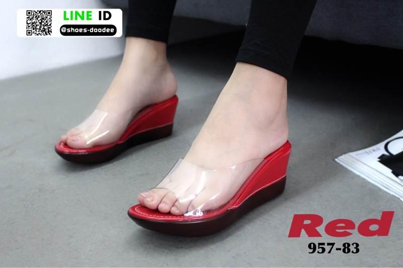 รองเท้าลำลองแบบสวมส้นเตารีด 957-83-RED [สีแดง]