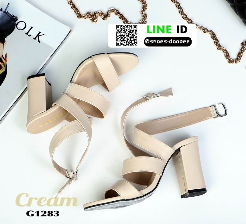 รองเท้าส้นสูงรัดข้อ ไขว้หน้า G1283-CRE [สีครีม]